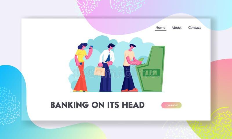 Atm交易服务,银行业务网站着陆页,反过来等待的字符支用或投入金钱到出纳机器 向量例证