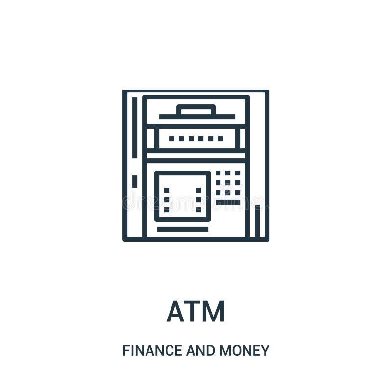atm从财务和金钱汇集的象传染媒介 稀薄的线atm概述象传染媒介例证 向量例证