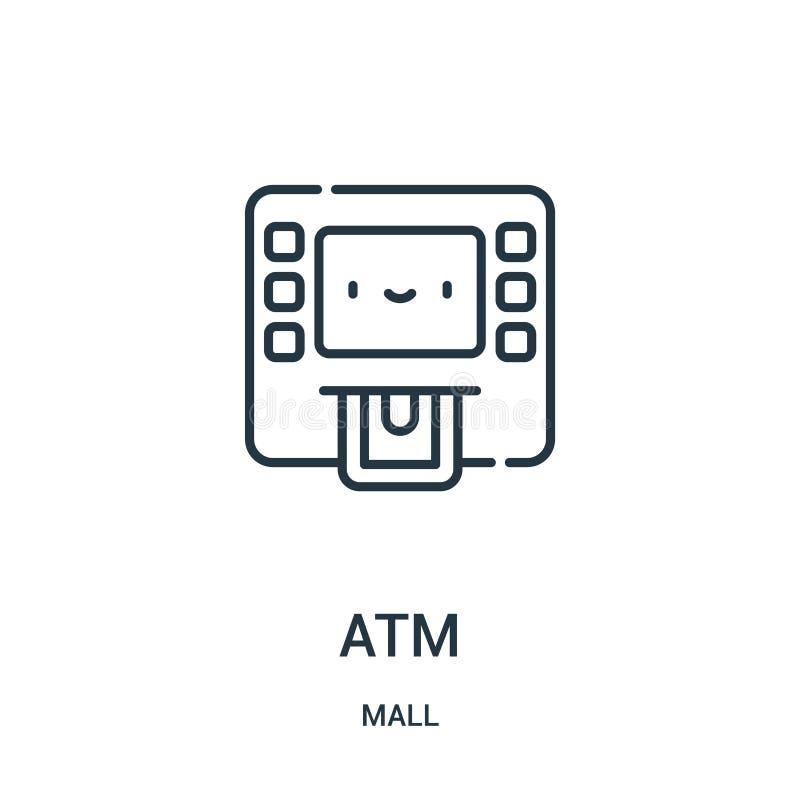 atm从购物中心汇集的象传染媒介 稀薄的线atm概述象传染媒介例证 线性标志为在网和流动应用程序的使用 皇族释放例证