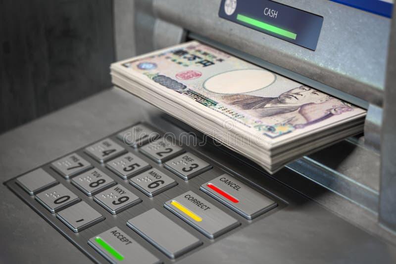 ATM机器和日元 撤出100日元钞票 银行业务概念 向量例证