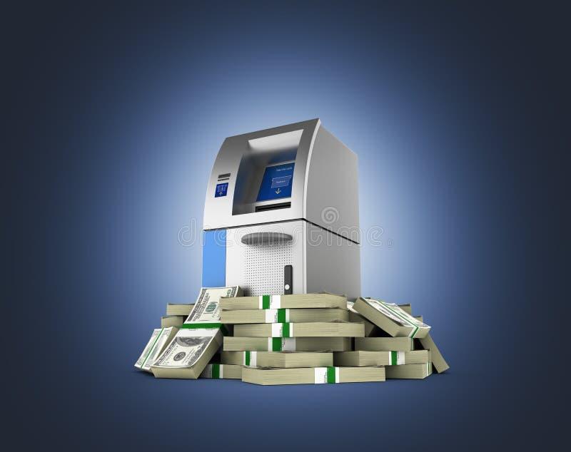 ATM由100美元财务资助在深蓝梯度围拢了开户在金钱的现钞机被隔绝的美国美金 向量例证