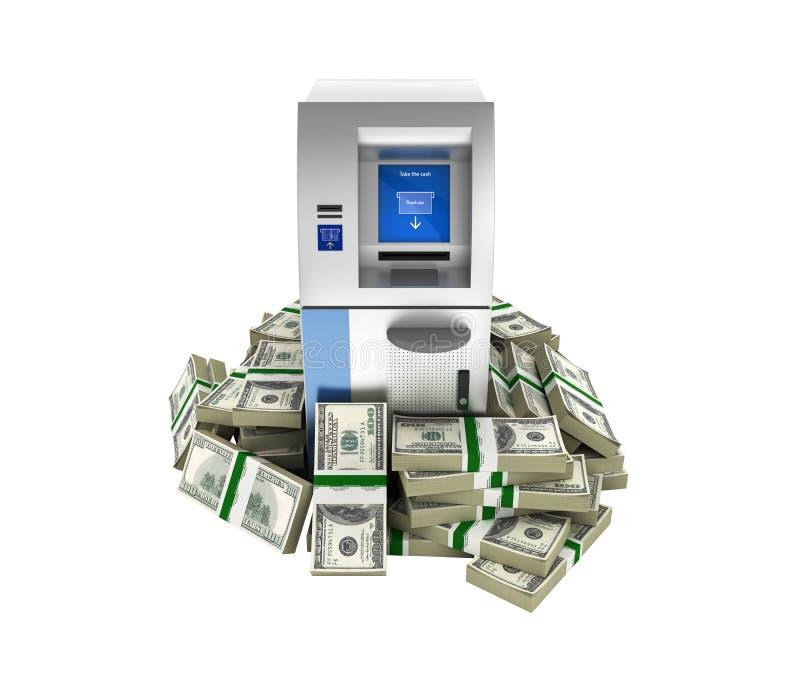 ATM由100美元财务资助在白色背景3d围拢了开户在金钱的现钞机被隔绝的美国美金 皇族释放例证
