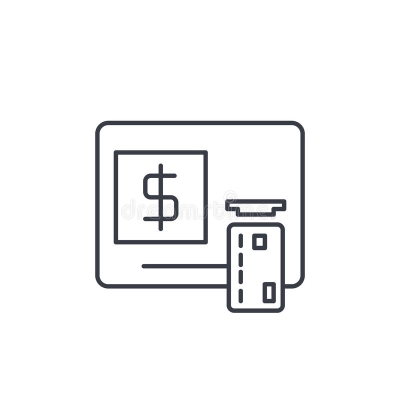 ATM,银行业务,美元现金,卡片金钱,提供经费给稀薄的线象 线性传染媒介标志 库存例证