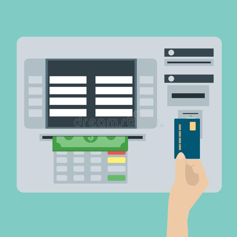 ATM终端和信用卡,现金,银行业务 平的设计传染媒介 向量例证