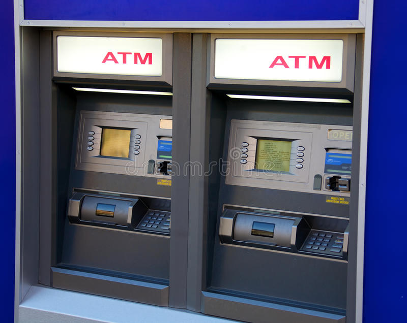 ATM. Two ATM machines waiting to be used stock images