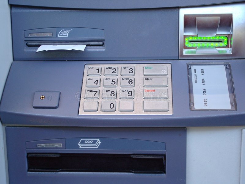 ATM. Automatic Teller Machine with receipt being given out royalty free stock images
