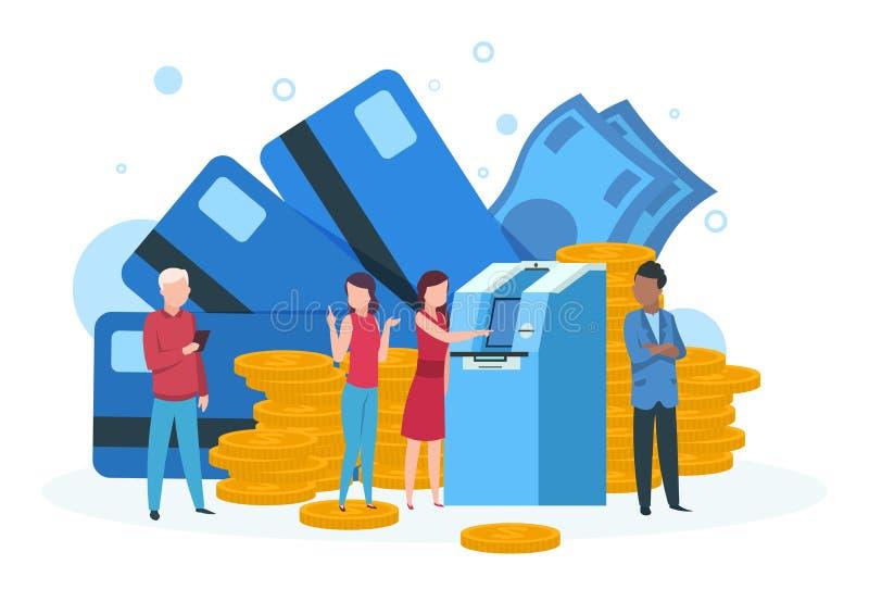Atm-affärsidé Kunder med anseende för pengar för kreditkorttillbakadragande i linje på sidan för bankatm-landning stock illustrationer
