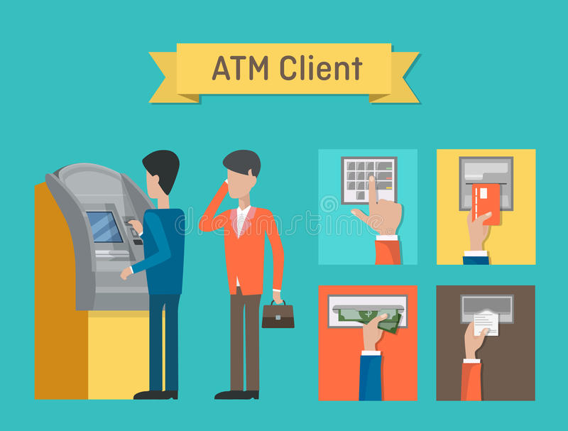 ATM or automated teller or cash machine clients. stock illustration