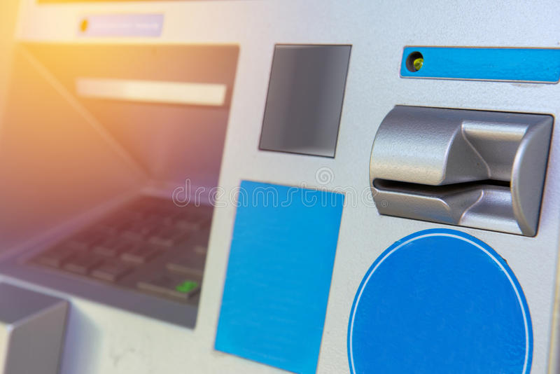 ATM bank cash machine built into wall.  stock photo
