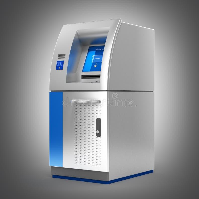 ATM banka Gotówkowa maszyna na popielatym gradientowym backround 3d royalty ilustracja
