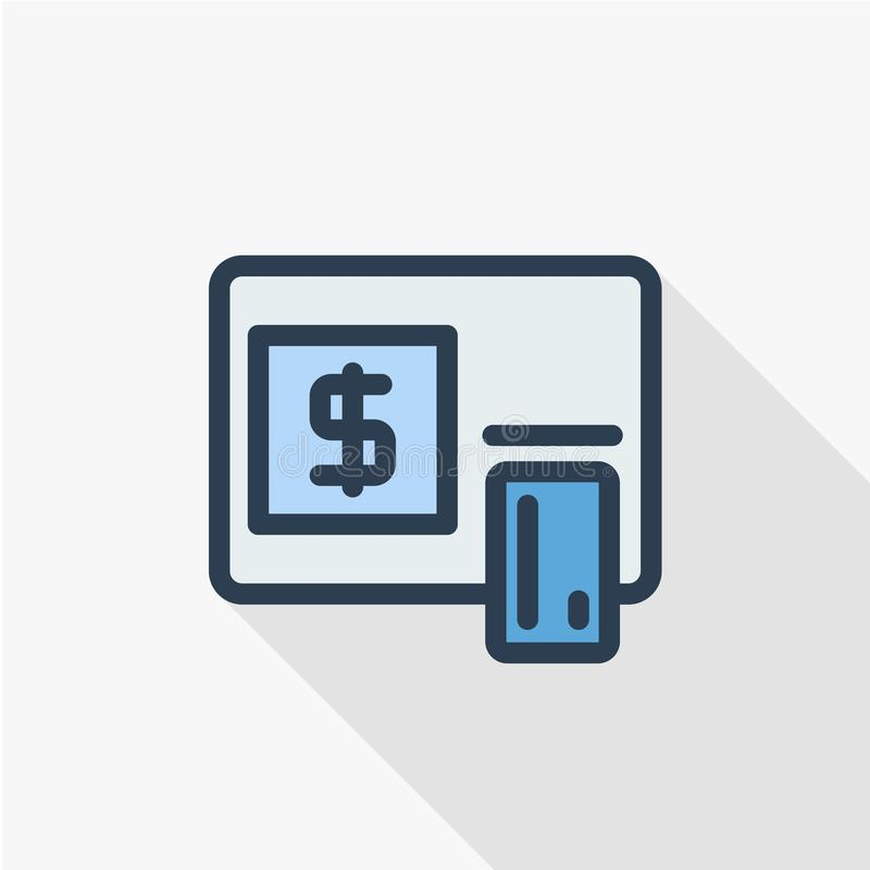 ATM, banking, dollar cash, card money, finance thin line flat color icon. Linear vector symbol. Colorful long shadow royalty free illustration