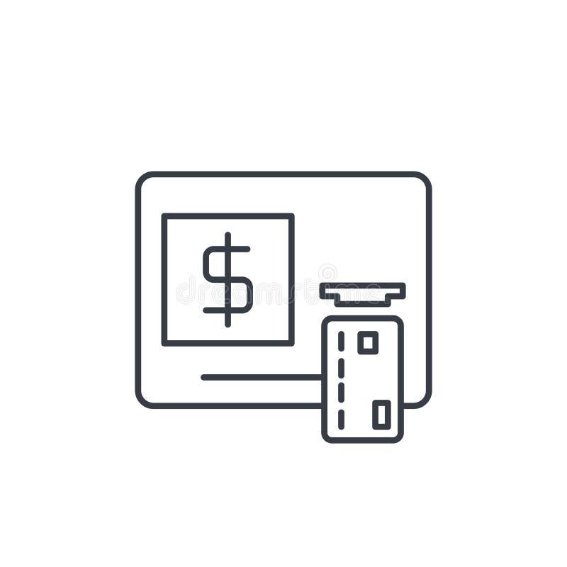 ATM, banking, dollar cash, card money, finance thin line icon. Linear vector symbol stock illustration