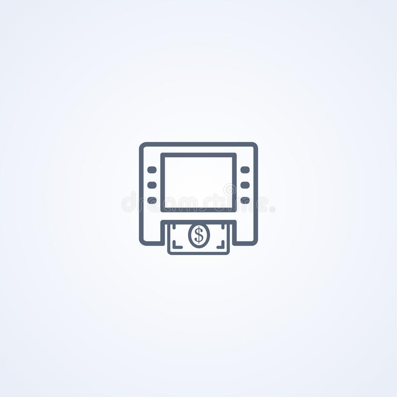 ATM, banking, vector best gray line icon vector illustration