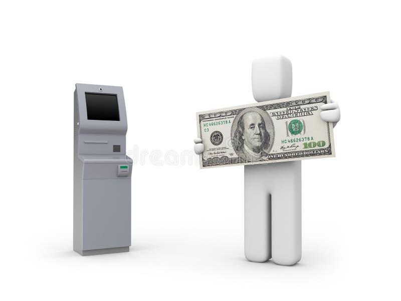 atm banknotu maszyny osoba ilustracja wektor