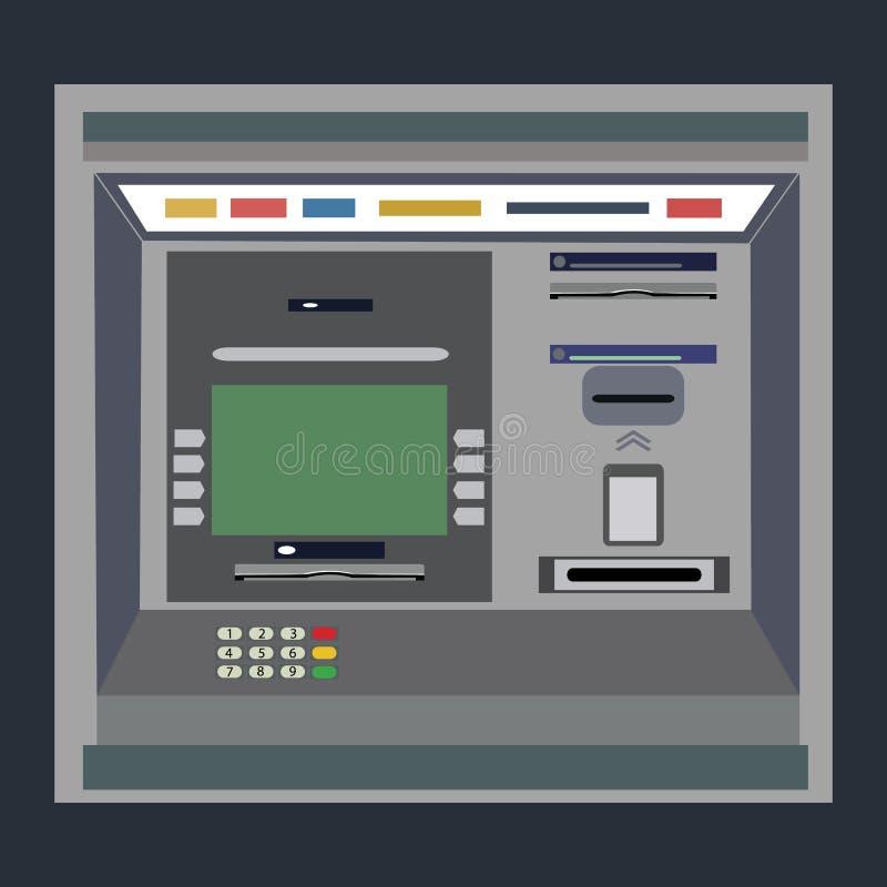 Atm-betalning Atm-maskin med handen och kreditkorten vektor illustrationer