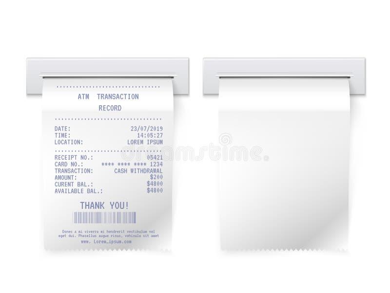 ATM bill in slot vector realistic illustrations set stock illustration