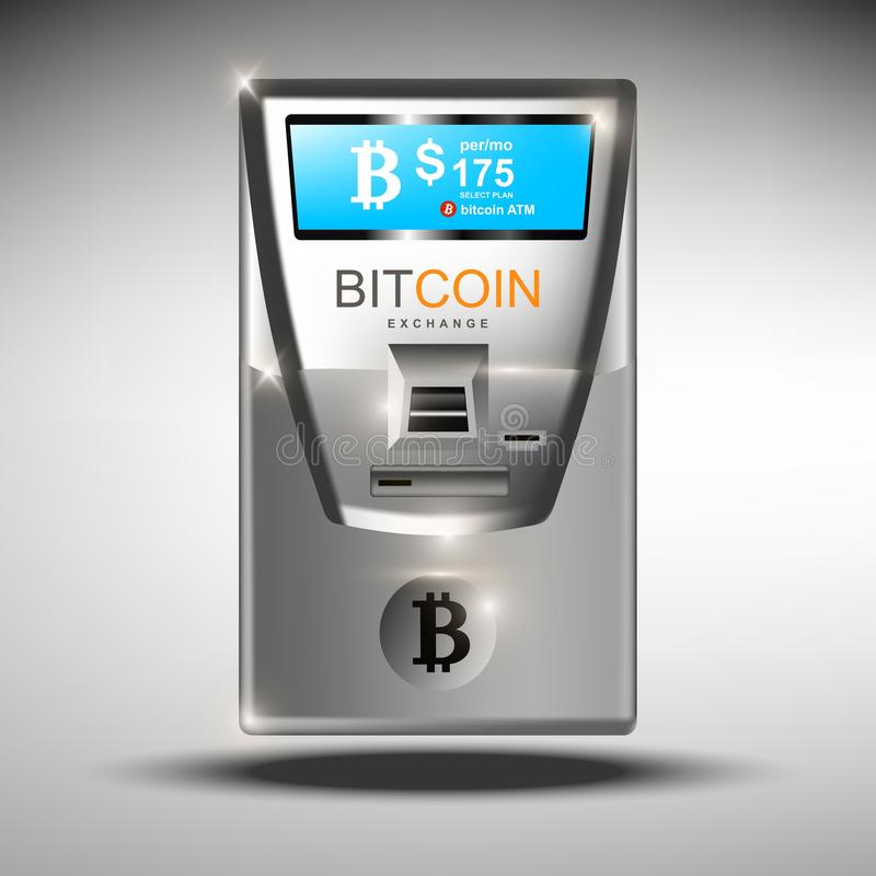 ATM bitcoins cash machine Vector illustration. Crypto currency tranfers concepts. Bitcoin ATM automated machine stock illustration
