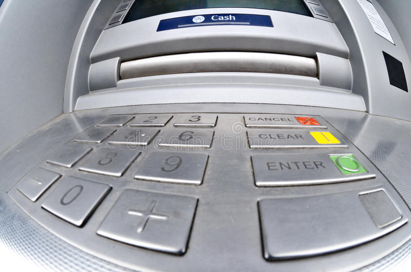 ATM or Cashpoint. A fisheye view of the cash drawer of an ATM, cashpoint or cash dispenser royalty free stock images