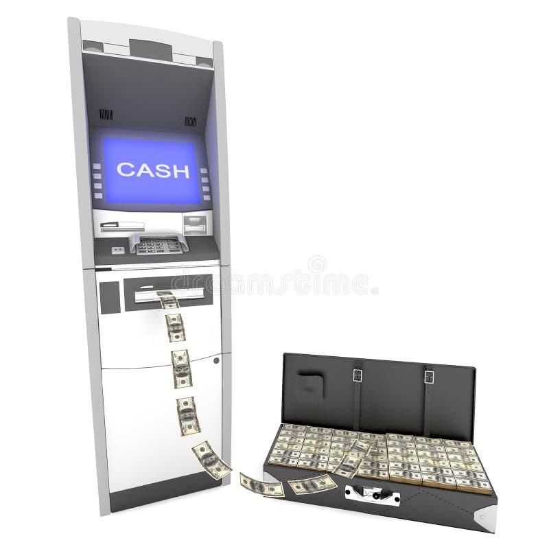 ATM-contant geldmachine met koffer stock illustratie