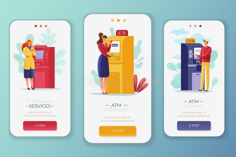 ATM-de verticale banners van betalingenmensen vector illustratie