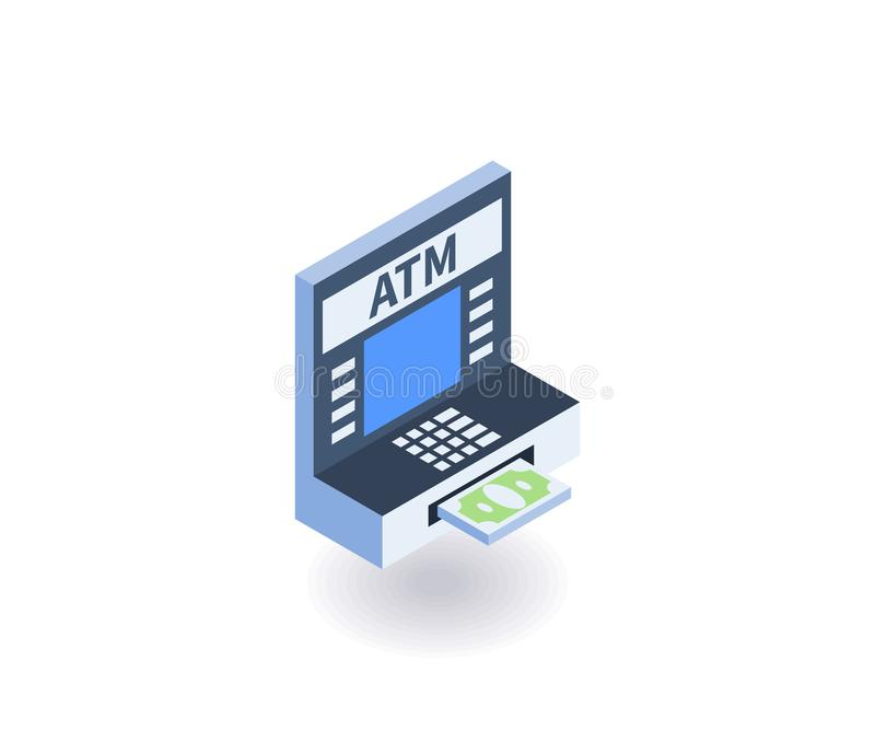 ATM icon. Vector illustration in flat isometric 3D style.  royalty free illustration