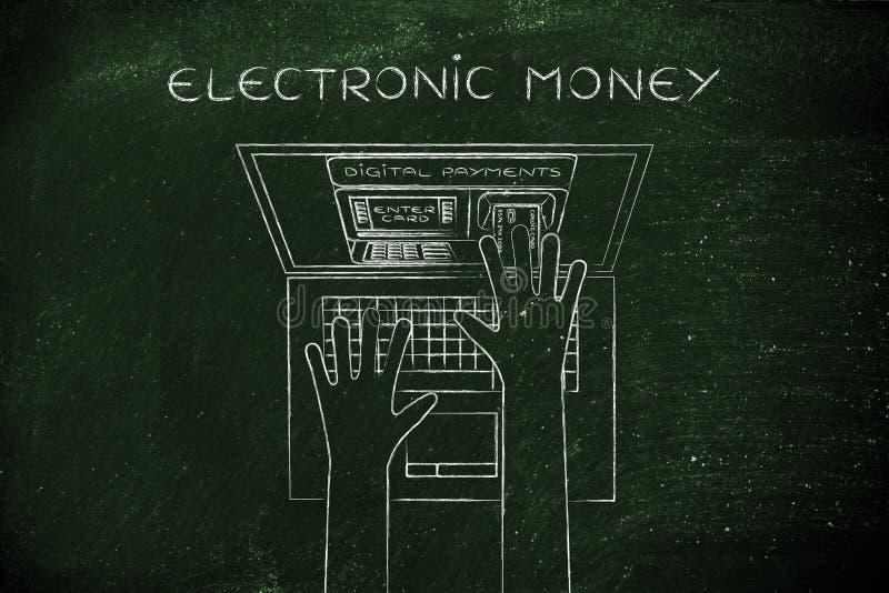 ATM innerhalb des Laptopschirmes mit der Hand, die Karte, elektronisches MO einfügt stockbilder