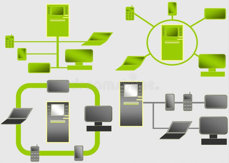Atm Interconnected Diagrams Stock Illustration Illustration Of