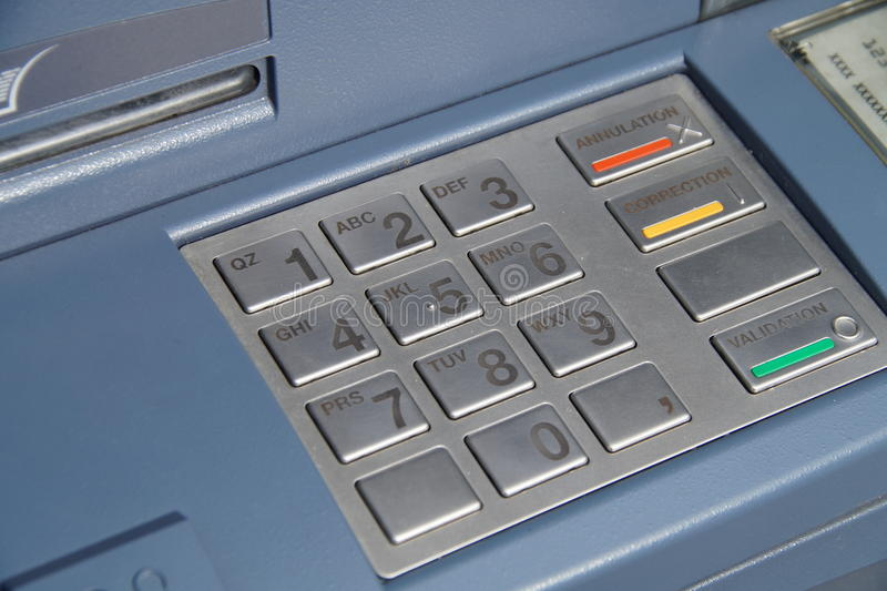 ATM keyboard or keypad cash machine - banking numbers. ATM keyboard or keypad cash machine - PIN banking numbers - angle royalty free stock images