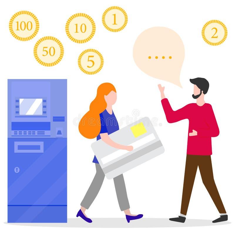 ATM, kobieta z bank kart?, m?ski asystent finanse ilustracja wektor