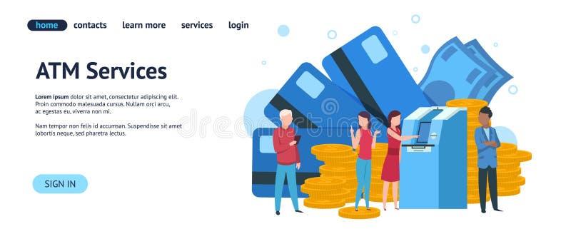 Atm-landningsida Mobilt packa ihop och online-mall för betalningbegreppswebsite Enkel betalning för vektorillustration vektor illustrationer