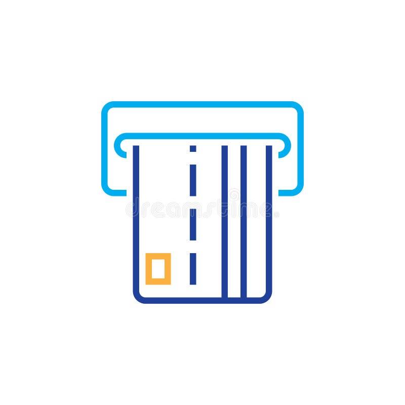 Atm-linje symbol, översiktsvektorlogo, isolerad linjär pictogram royaltyfri illustrationer