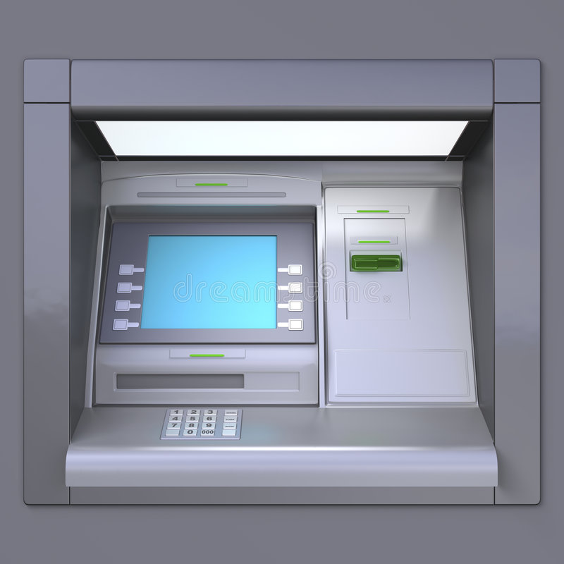 ATM machine. 3D illustration of outdoor ATM machine. Image include several clipping paths for easily extraction background, screen etc