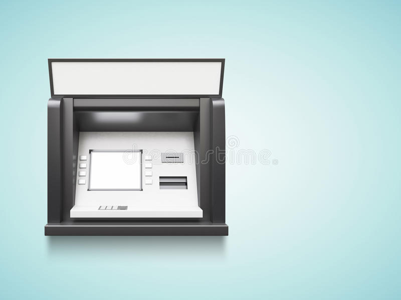 Atm machine. With blank display on a blue background royalty free stock photo