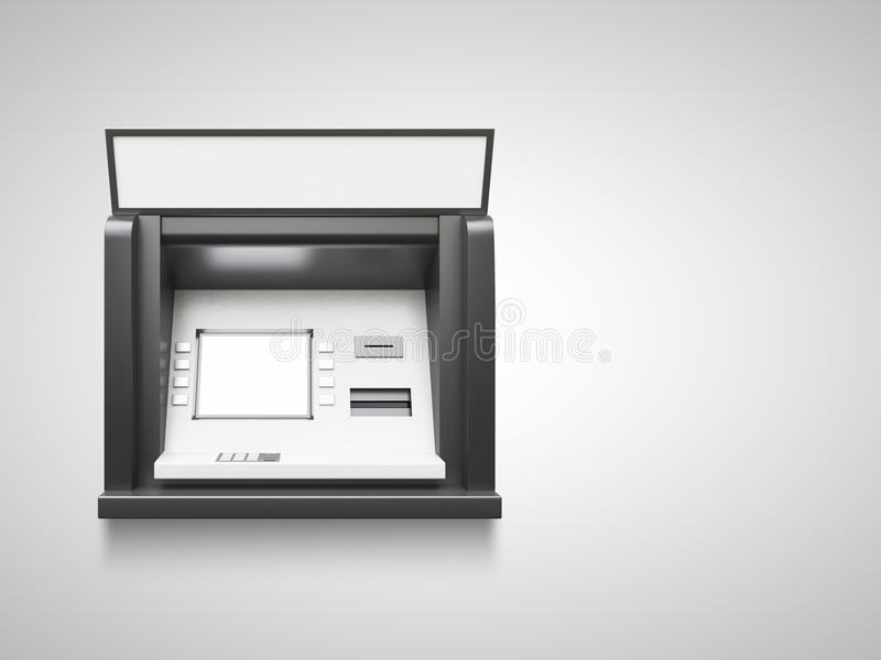 Atm machine. With blank display in wall stock image