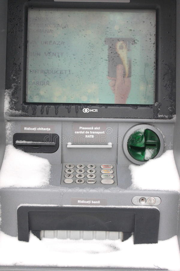 Download ATM machine blizzard snow editorial stock image. Image of coin - 37414984