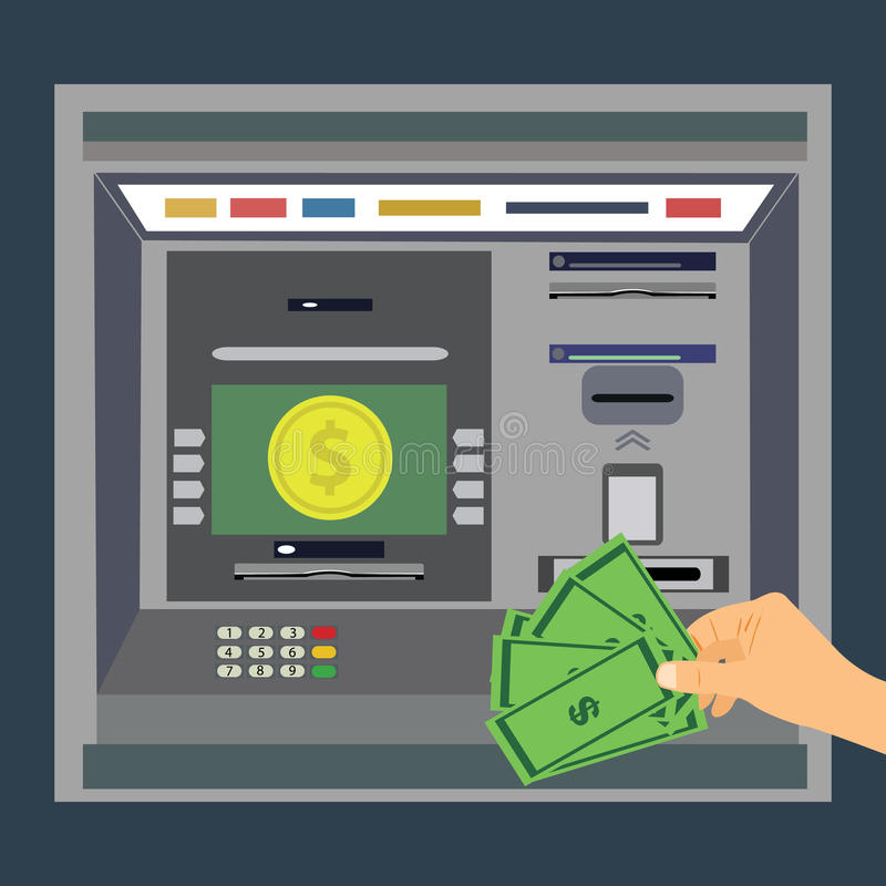 ATM machine with hand, payment and withdrawing money from credit card royalty free illustration
