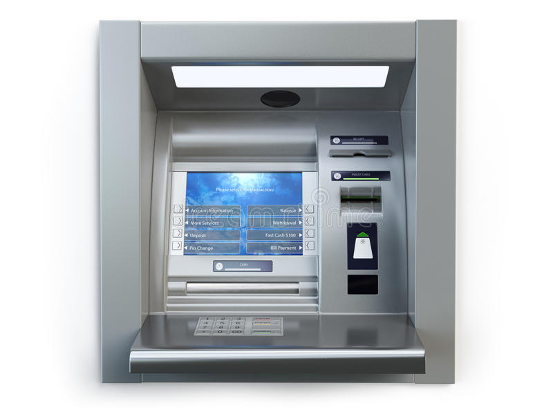 ATM machine isolated on white. Automated teller bank cash machine vector illustration