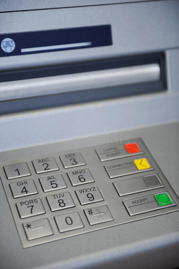 ATM Machine keyboard. Close up on keyboard of ATM machine stock photos