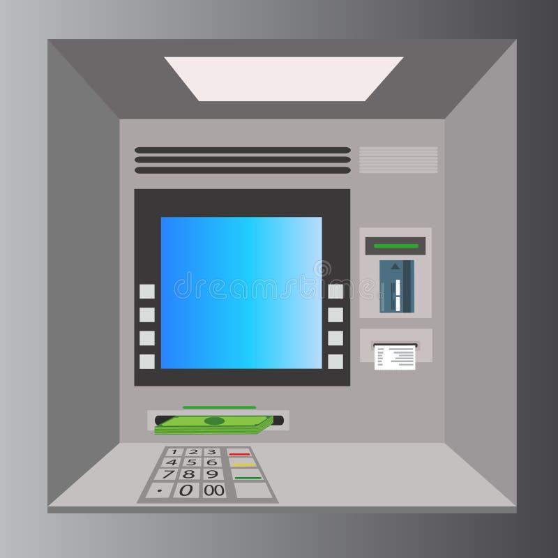 ATM-machine met hand, betaling en het terugtrekken van geld van creditcard vector illustratie