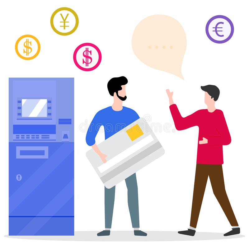 ATM, man with bank card, male assistant. Finance. Vector illustration with people near ATM. Man with bank card, male assistant helping clients. Financial vector illustration