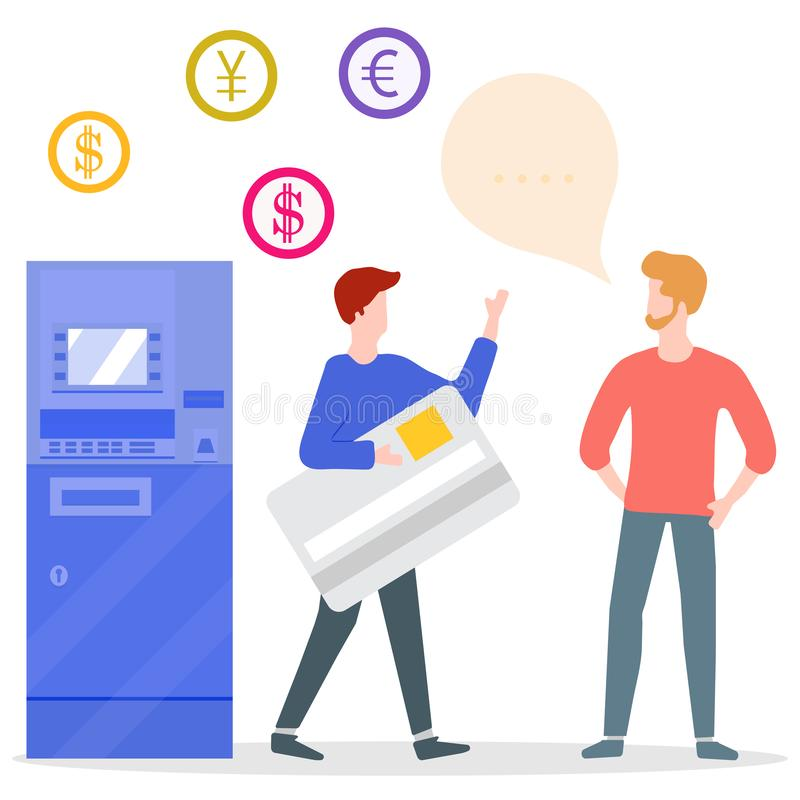 ATM, man with bank card, male assistant. Finance. Vector. Vector illustration with people near ATM. Man with bank card, male assistant helping clients. Financial stock illustration