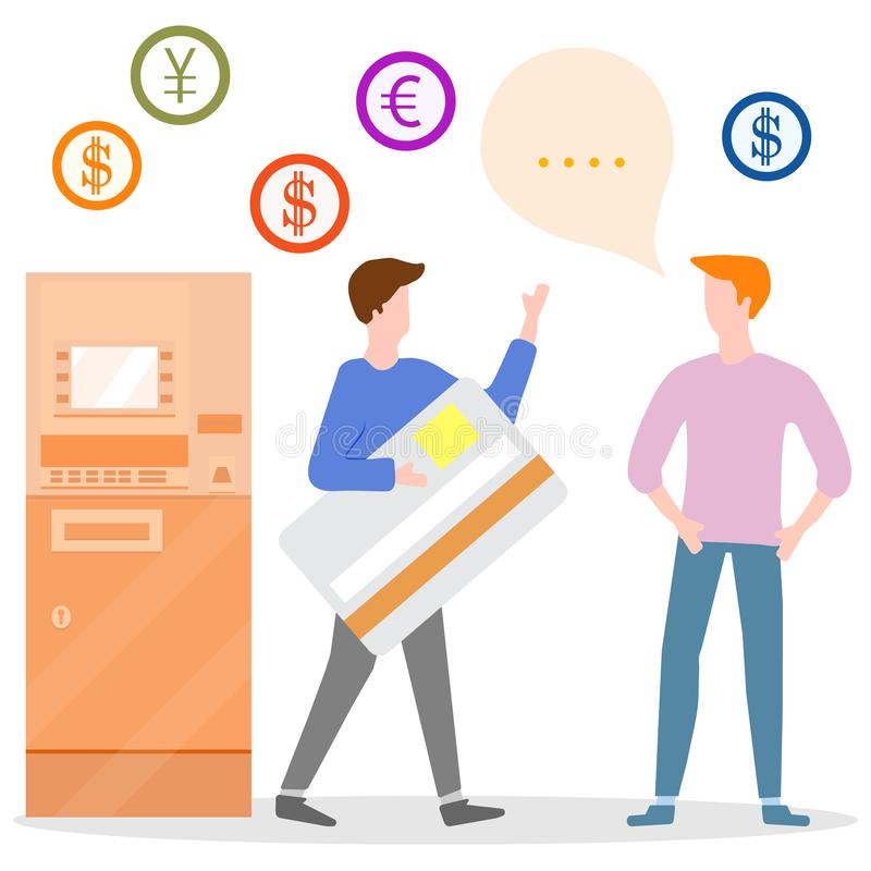 ATM, man with bank card, male assistant. Finance. Vector. Vector illustration with people near ATM. Man with bank card, male assistant helping clients. Financial vector illustration