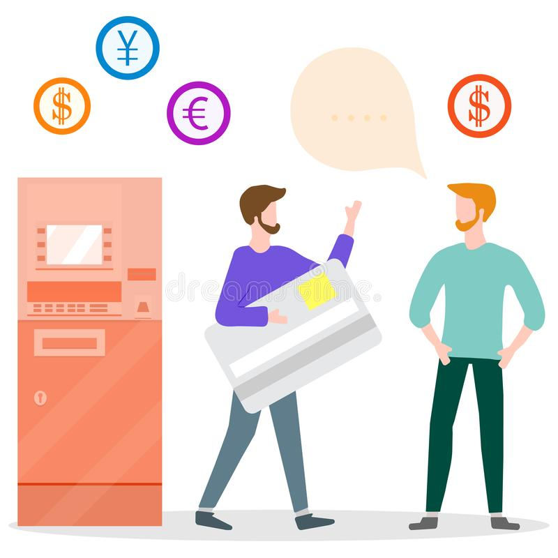 ATM, man with bank card, male assistant. Finance. Vector illustration with people near ATM. Man with bank card, male assistant helping clients. Financial stock illustration