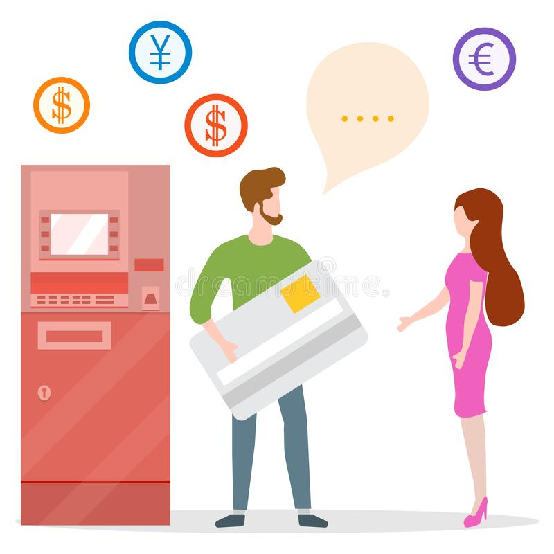 ATM, man with bank card, woman. Personal finance. Vector illustration with people near ATM. Man with bank card, female assistant helping clients. Financial royalty free illustration