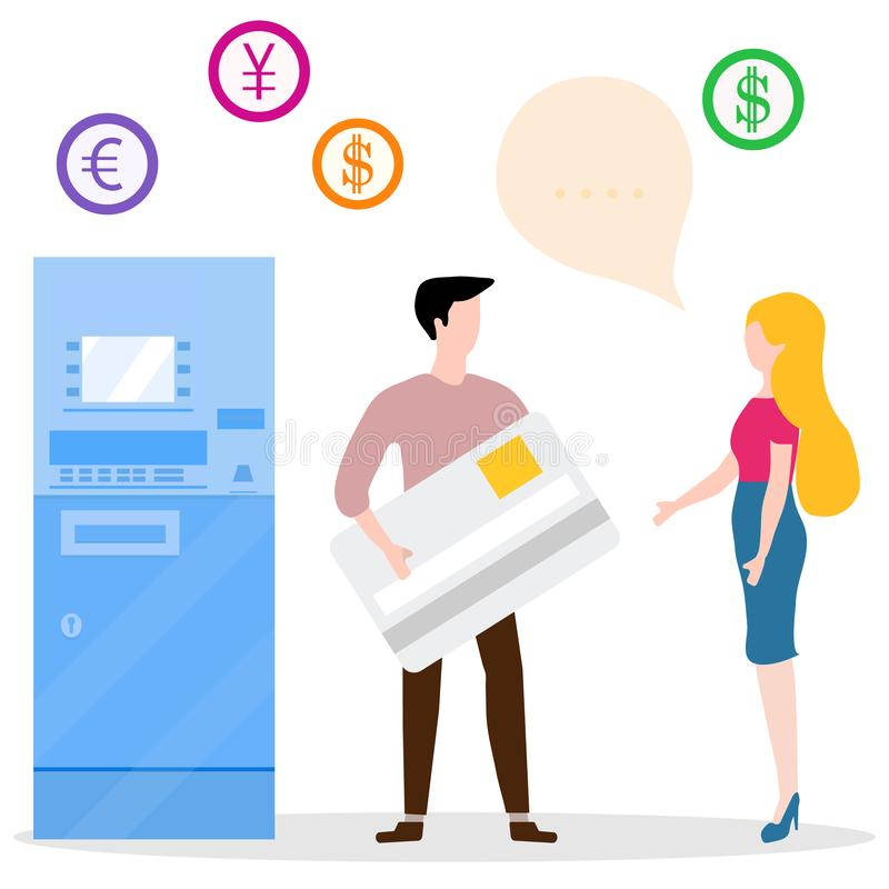 ATM, man with bank card, woman. Personal finance. Vector. Vector illustration with people near ATM. Man with bank card, female assistant helping clients royalty free illustration