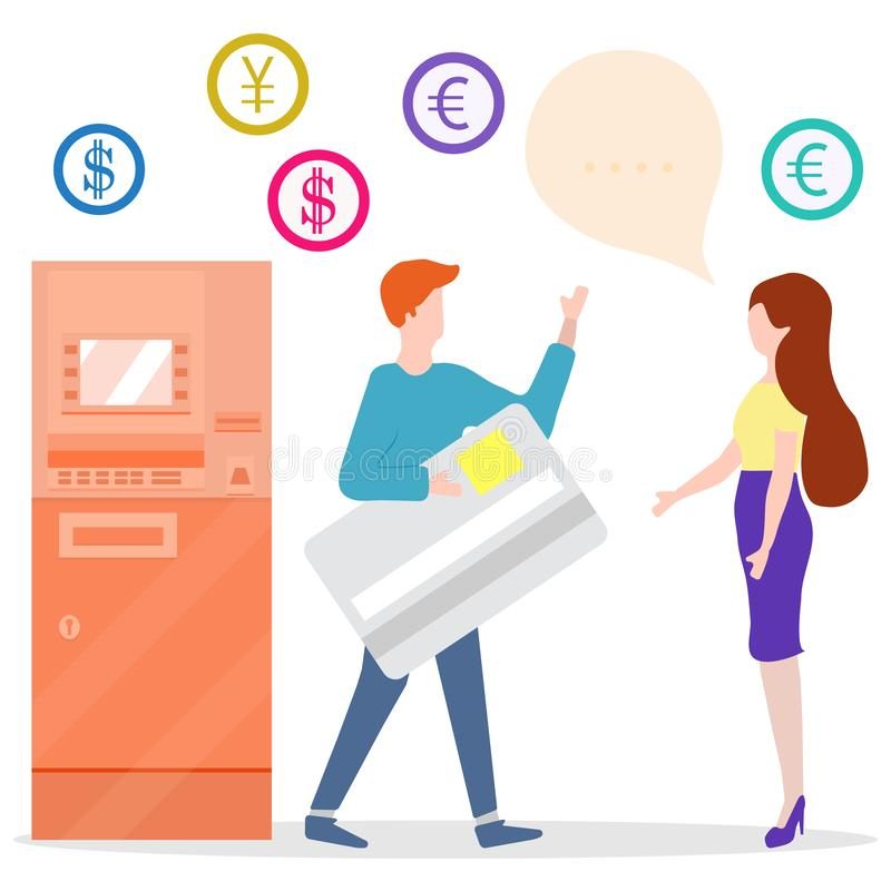 ATM, man with bank card, woman. Personal finance. Vector illustration with people near ATM. Man with bank card, female assistant helping clients. Financial stock illustration