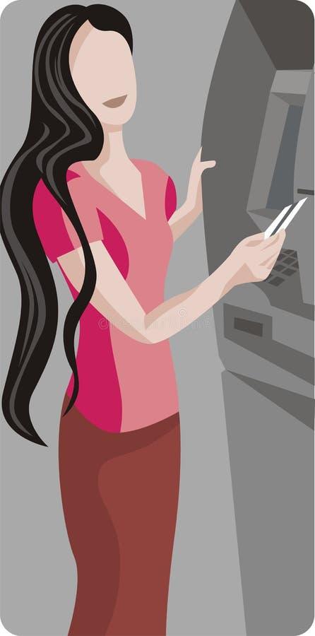 atm-maskin genom att använda kvinnan stock illustrationer