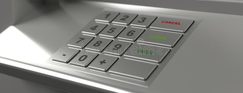 ATM maszynowa klawiatura, sztandar, zbliżenie widok ilustracja 3 d royalty ilustracja