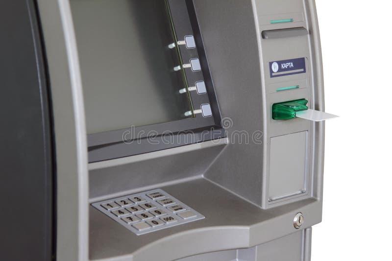 ATM met anti-schuimspaan en witte plastic kaart royalty-vrije stock afbeelding