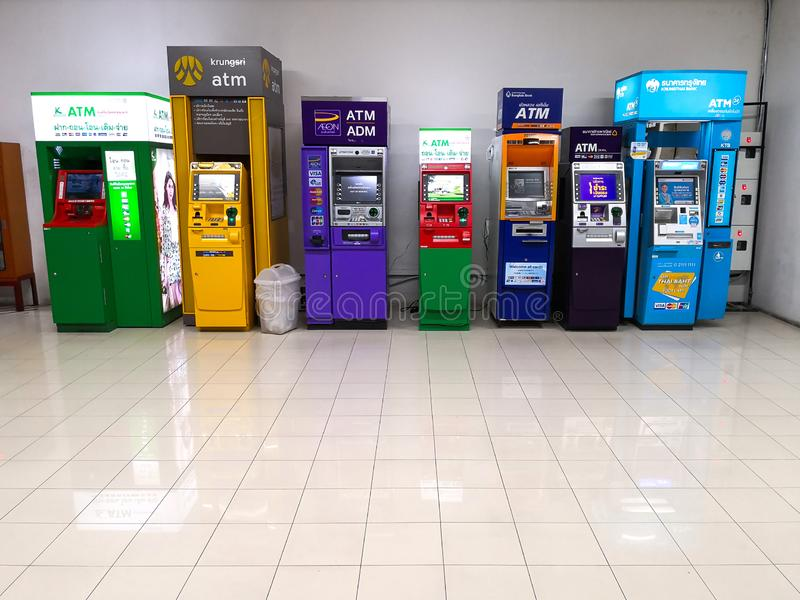 ATM Money service machine at Banking service point in Bangkok, Thailand - March 28, 2019. royalty free stock photo